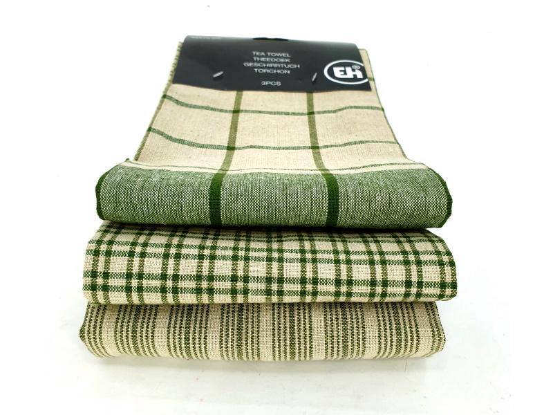 3er-Set Küchenhandtuch Handtuch Haushaltstuch 3 Mustern (grün)