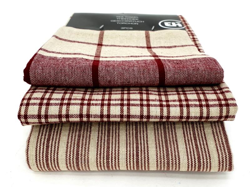 3er-Set Küchenhandtuch Handtuch Haushaltstuch 3 Mustern (Rot)