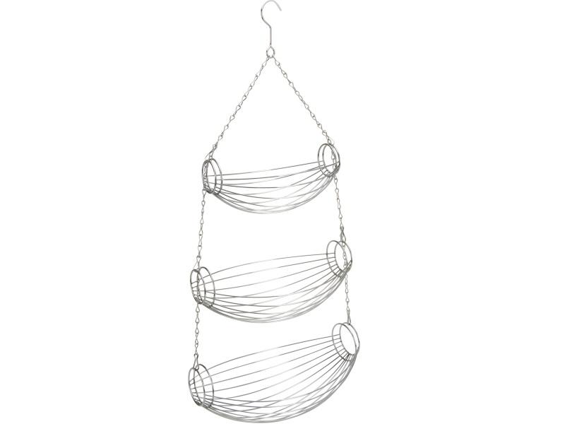 3 facher Hängekorb aus Metall zur Aufbewahrung Obstkorb Korb (silber)