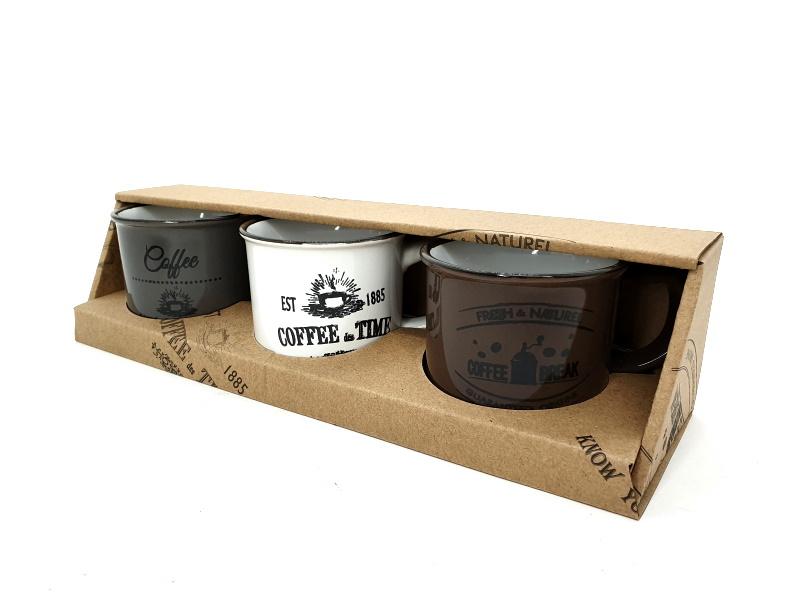 3er-Set Becher Tassen aus Keramik Inhalt 180ml im Retro-Stil