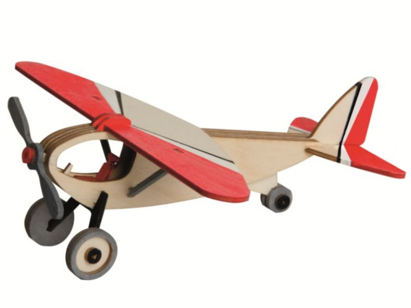 Hobaku Bastelsets - Selbstbau-Sets -Erzgebirgische Holzkunst-Sportflugzeug-20x8x