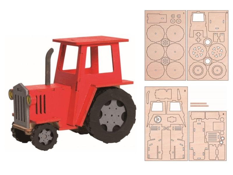 Hobaku Bastelsets - Selbstbau-Sets – Drechslerei Kuhnert (Traktor - ca. 13 x 8 x