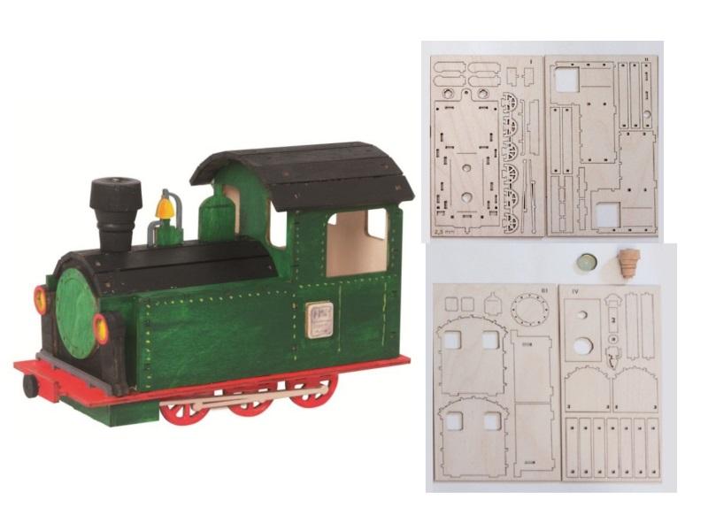 Hobaku Bastelsets - Selbstbau-Sets - Drechslerei Kuhnert (Lokomotive – 20 x 8 x
