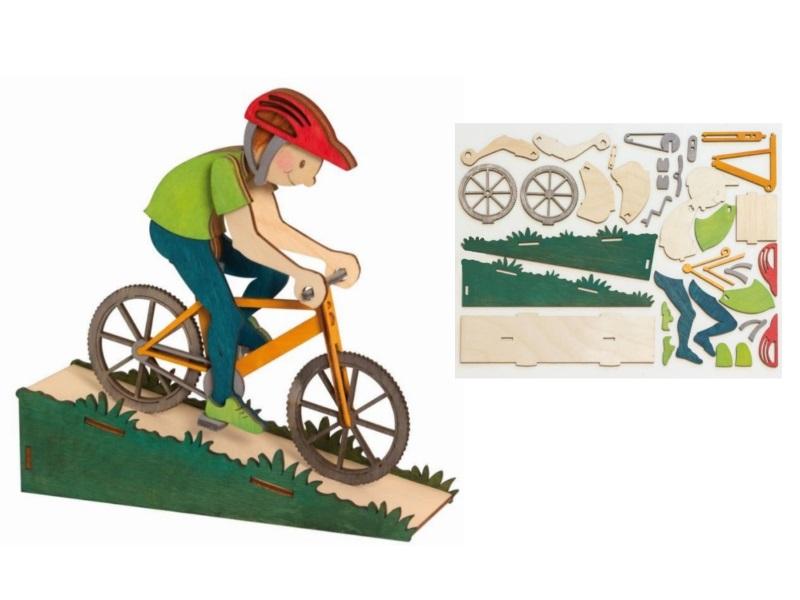 Hobaku Bastelset-Erzgebirgische Holzkunst-Drechslerei Kuhnert(Radfahrer-ca.19x5x