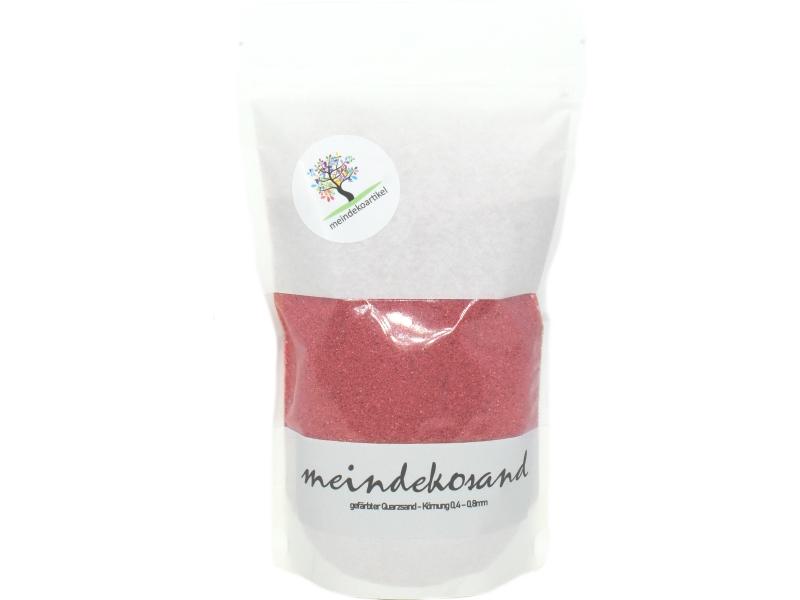 Farbsand 1400g - Quarzsand gefärbt 0,4 - 0,8mm - Dekosand hergestellt in Deutschland (Himbeere)