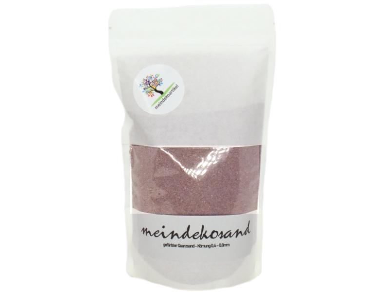 Farbsand 1400g - Quarzsand gefärbt 0,4 - 0,8mm - Dekosand hergestellt in Deutschland (Flieder)
