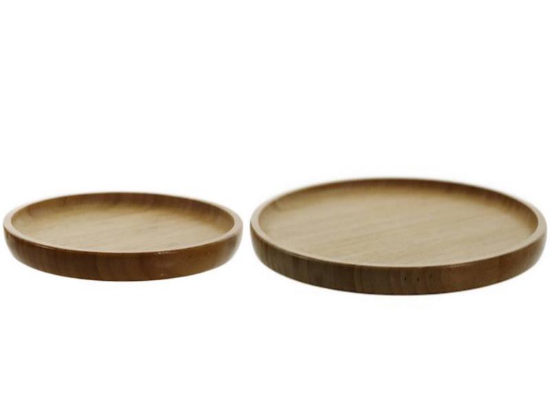 2er-Set Teller Platten aus Bambus rund Ø 20 cm / 26 cm