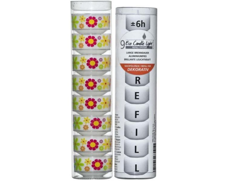 """ECO CANDLE LIGHTS – Kombipack """"PRIL BLUMEN"""" 8x Hüllen mit Teelicht + 9x Nachfüll"""