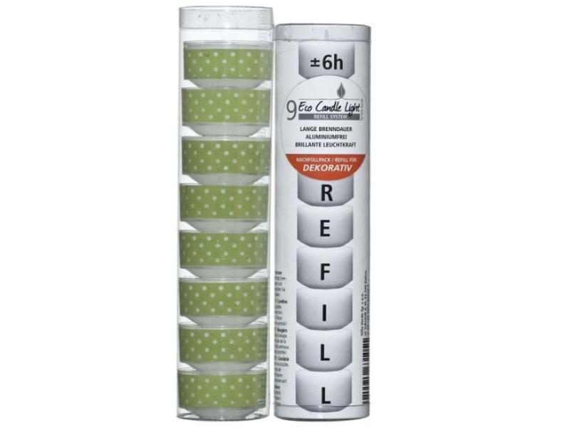 """ECO CANDLE LIGHTS – Kombipack """"DOTS grün"""" 8x Hüllen mit Teelicht + 9x Nachfüller"""