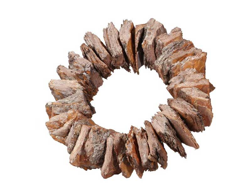 Kranz aus Rinden Stücken gefrostet ORANGE Ø 38cm