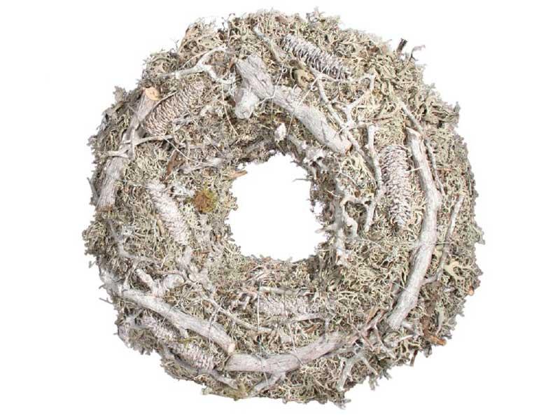 Kranz mit Ästen,Moos und Zapfen grau Ø 30cm