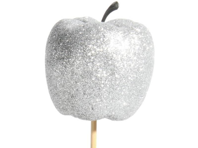 12 Dekostecker - Apfel mit Glitter am Stab silber – Ø 6 x Höhe 6/36cm