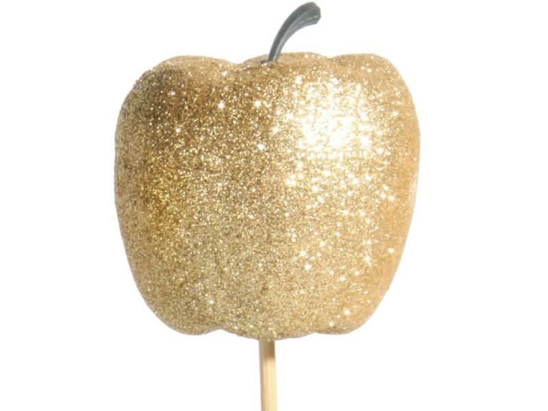 12 Dekostecker - Apfel mit Glitter am Stab gold – Ø 6 x Höhe 6/36cm