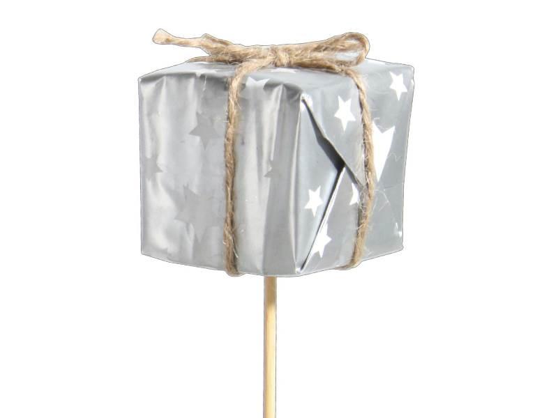 12 Dekostecker – Pakete mit Sternen am Stab silber – B 4cm x T 4cm x H 4/34cm
