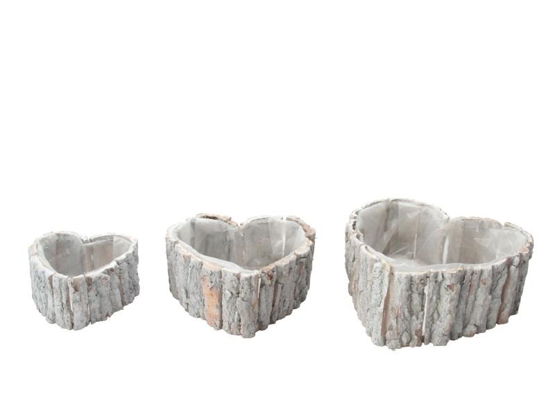 """3er Set Deko-Schalen """"Herz"""" aus Rinde weiss 17x18x9cm; 22x23x10cm; 29x30x12cm"""