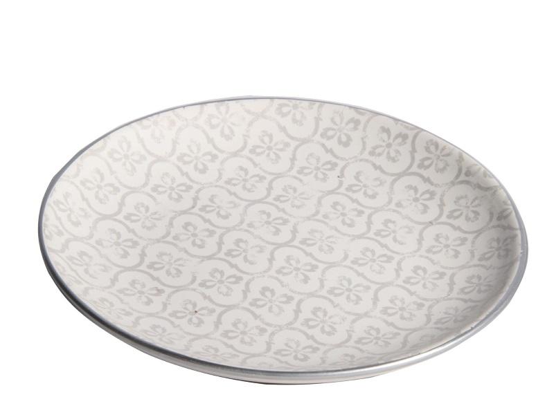 """Deko-Teller """"Neli"""" aus Keramik silber – Ø 21cm x Höhe 3,2cm"""