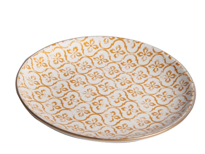 "Deko-Teller ""Neli"" aus Keramik gold – Ø 21cm x Höhe 3,2cm"