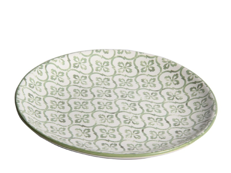 """Deko-Teller """"Neli"""" aus Keramik grün – Ø 21cm x Höhe 3,2cm"""