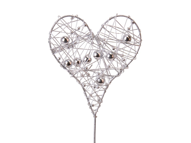 12 Dekostecker - Herz aus Draht mit Perlen flach am Stab silber Ø 7,5cm x Höhe 2