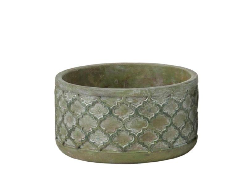 "Deko-Schale ""Tanno"" aus Zement grün – Ø 22cm x Höhe 11cm"