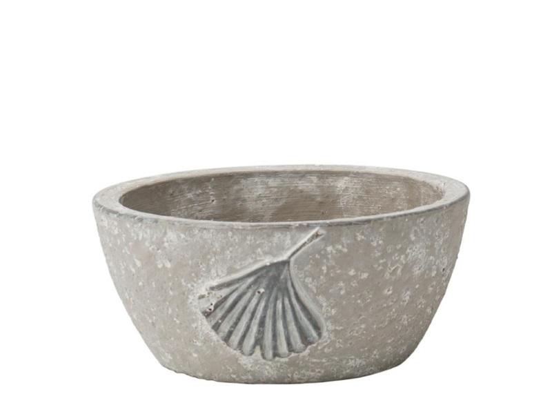 Deko-Schale mit Blatt aus Zement grau – Ø 16,5cm x Höhe 7,5cm