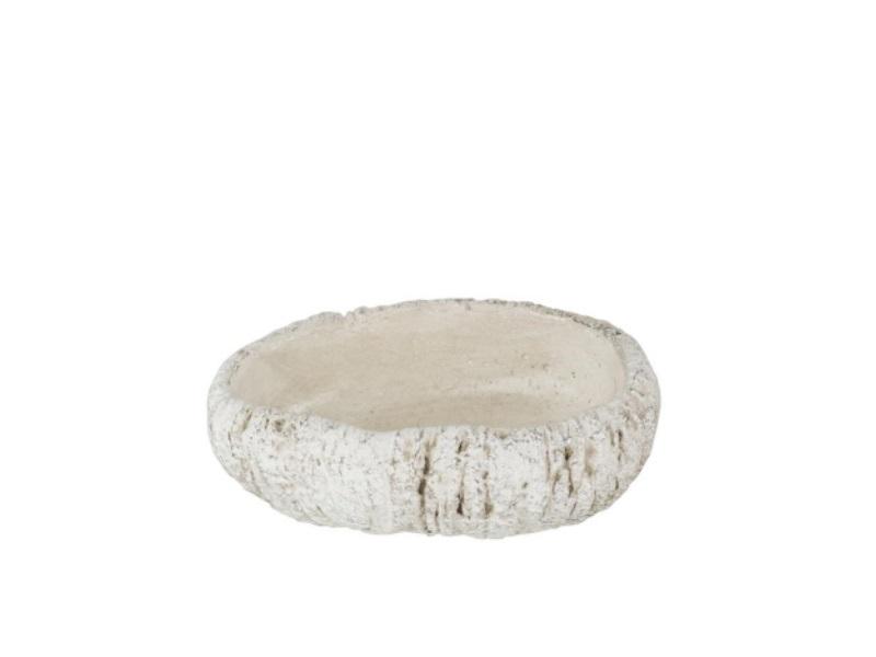 "Deko-Schale ""Skito"" oval aus Zement weiss-silber – B 19cm x T 12,5cm x H 6cm"