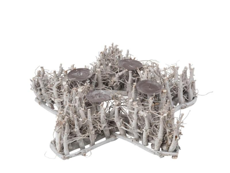 deko kranz aus sten als stern mit 4 kerzentellern grau 50cm x h he 13cm. Black Bedroom Furniture Sets. Home Design Ideas