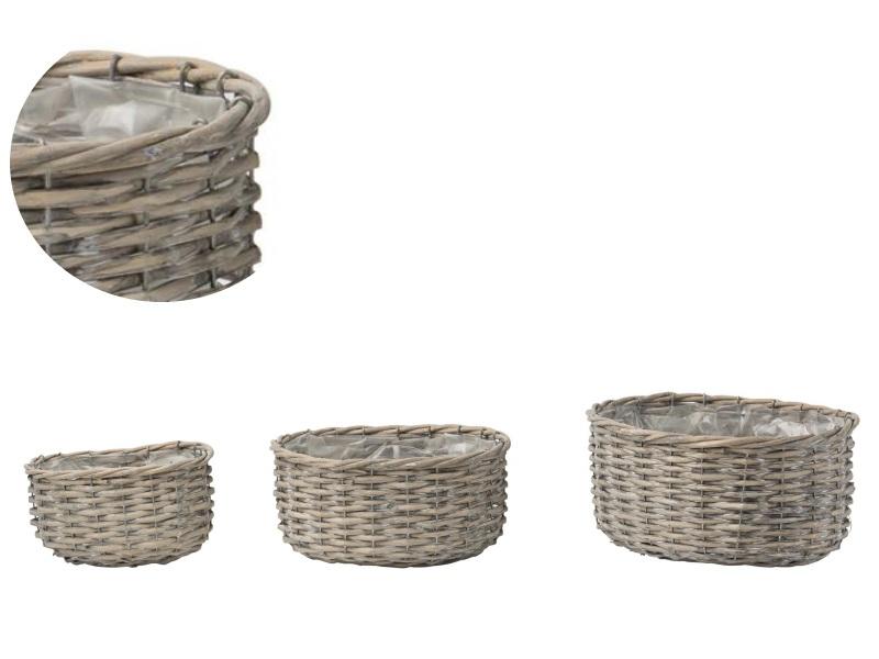3er Deko-Korb Jardiniere aus Weide oval grau 21,5x16x9,5; 27x20x12; 32,5x26x15cm