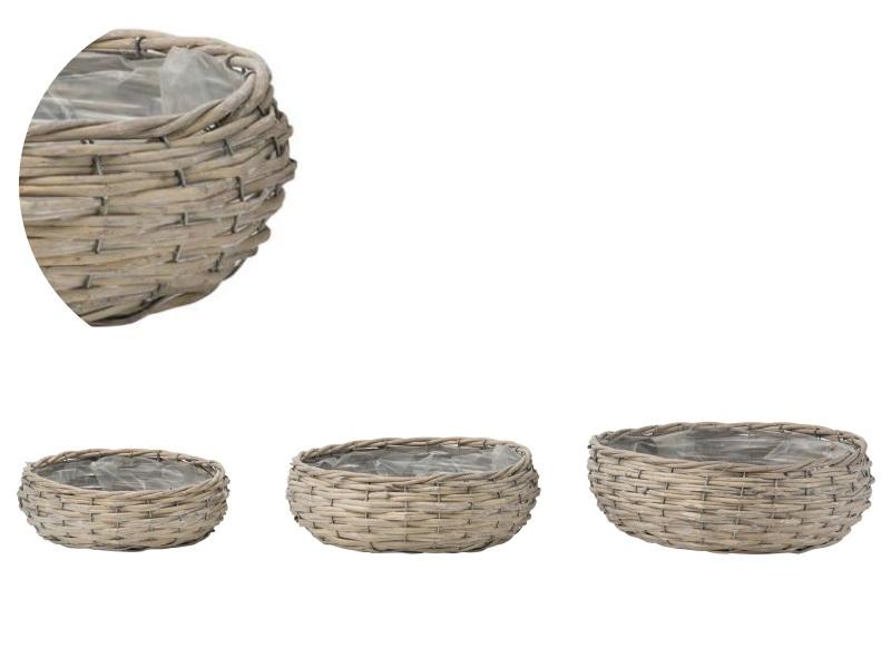 3er Deko-Schale bauchig aus Weide grau - Ø27xH8,9cm; Ø32xH9,5cm; Ø36xH10cm