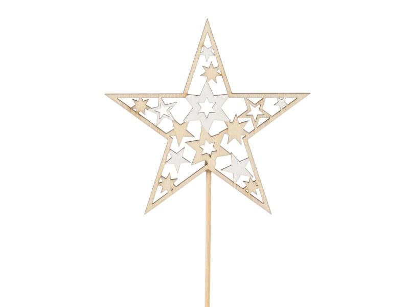 12 Dekostecker - Stern aus Holz ausgeschnitten am Stab weiss-natur B 9 x H 9/29c