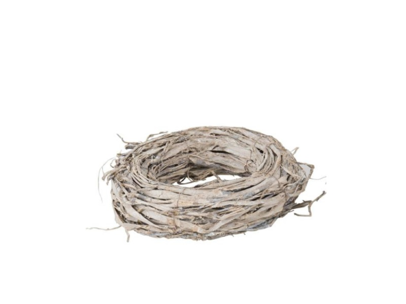 Deko-Kranz aus Rinde mit Glitter weiss washed -  Ø 30cm x Höhe 8cm