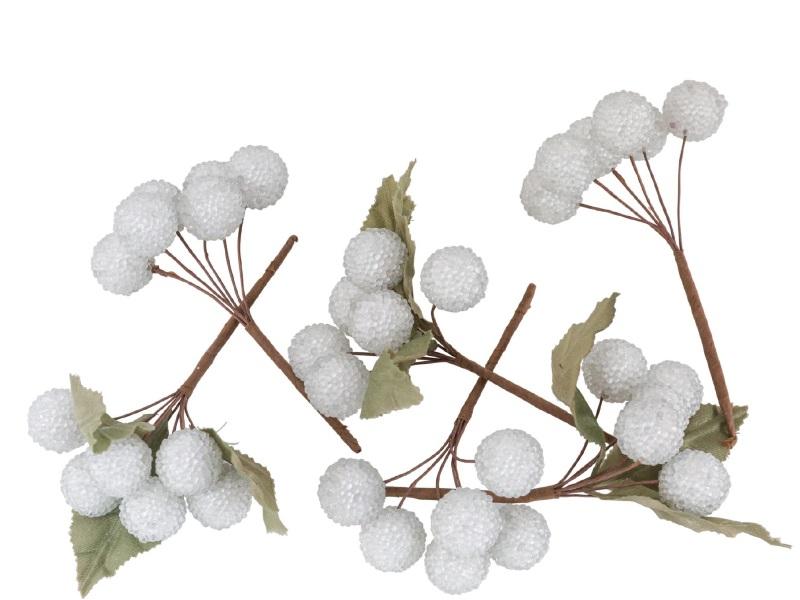 6 kleine Bund Kunstblumen - Beerenbündel beeist grün - (je Beere) Ø 2cm