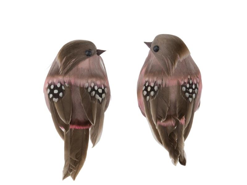 2 Dekofiguren - Vögel mit Federn sortiert rosa – B 12cm x T 5cm x H 6cm