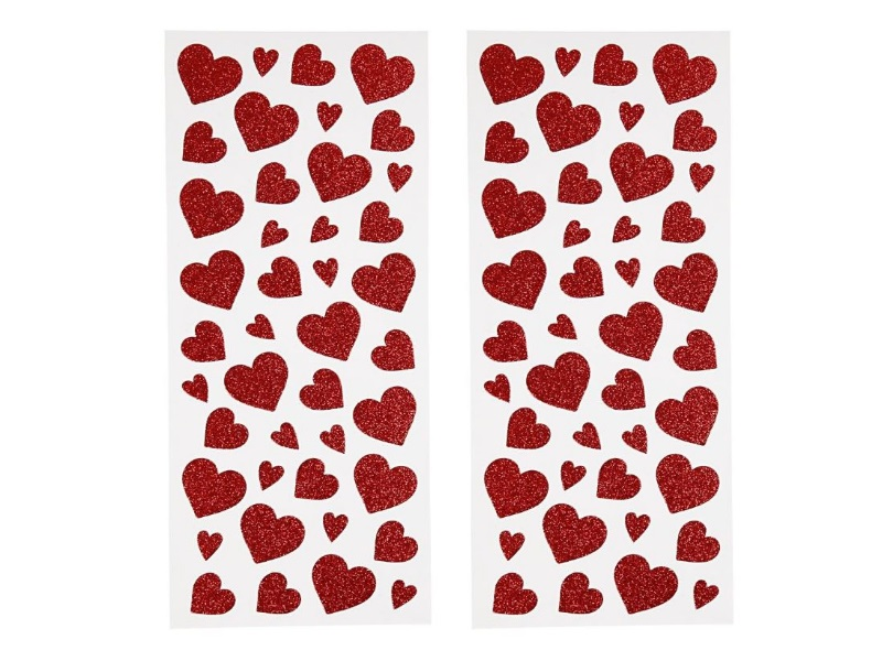 Glitzer-Sticker Herzen in Rot ca. 84 Stück auf 2 Blätter - Blatt 10x24 cm