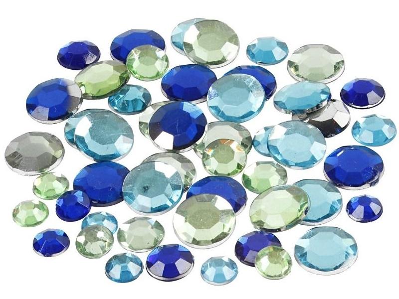 Strasssteine Mosaiksteine in Blau-Grün rund 360 Stück - Größe 6+9+12 mm