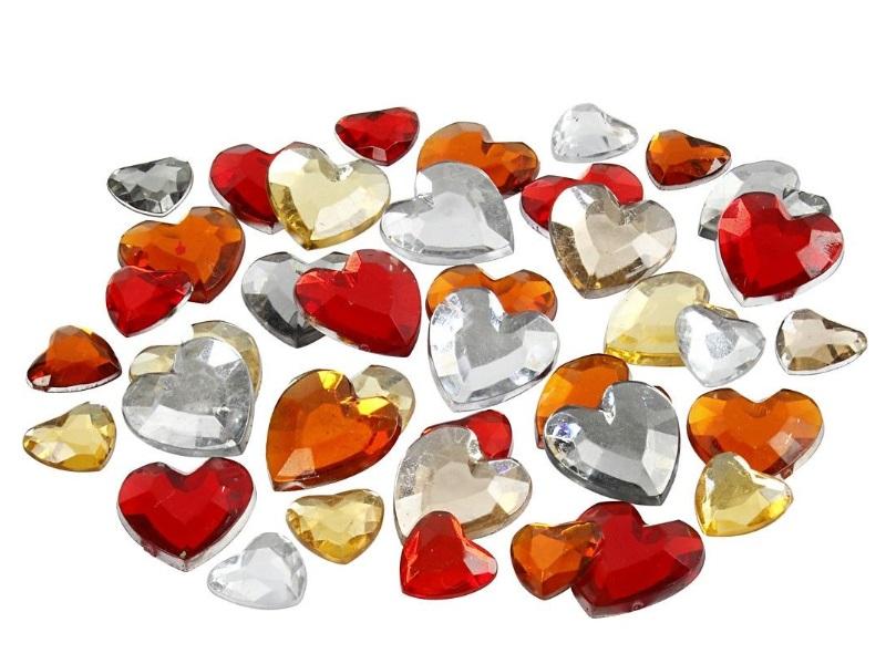 Strasssteine Mosaiksteine Herzen in Rottöne 252 Stück - Größe 6+10+14 mm
