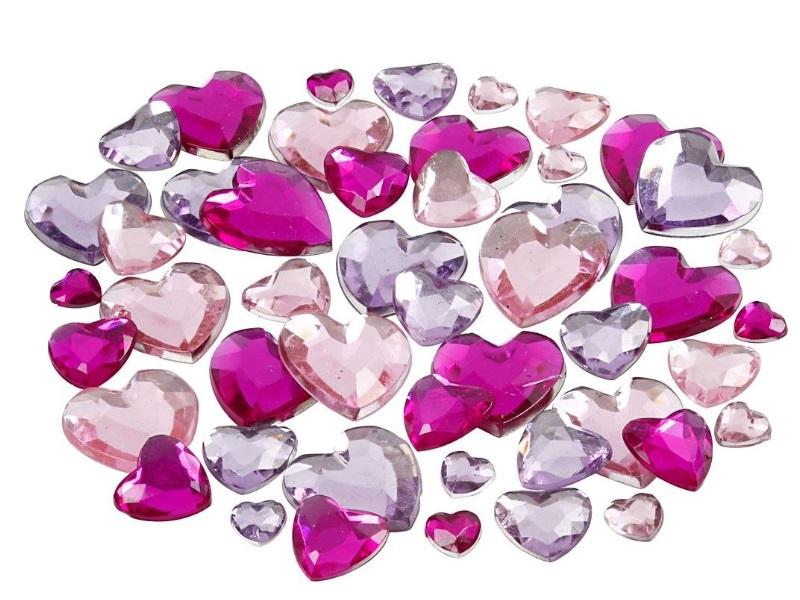 Strasssteine Mosaiksteine Herzen in Lilatöne 252 Stück - Größe 6+10+14 mm