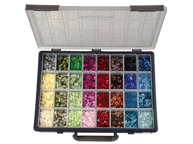 XXL Pailletten Sortiment Ø 6mm im praktischen Sortierkasten 32 Farben zu je 25g