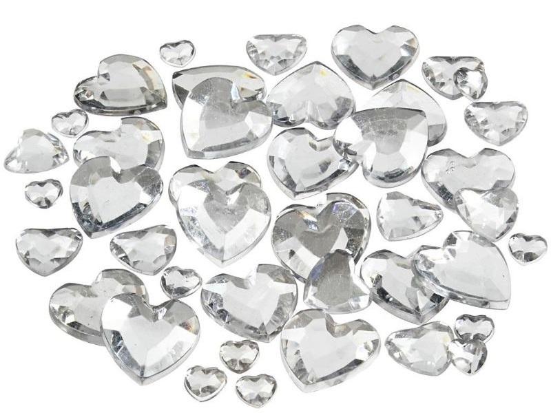 Strasssteine Mosaiksteine Herzen in Silber 252 Stück - Größe 6+10+14 mm