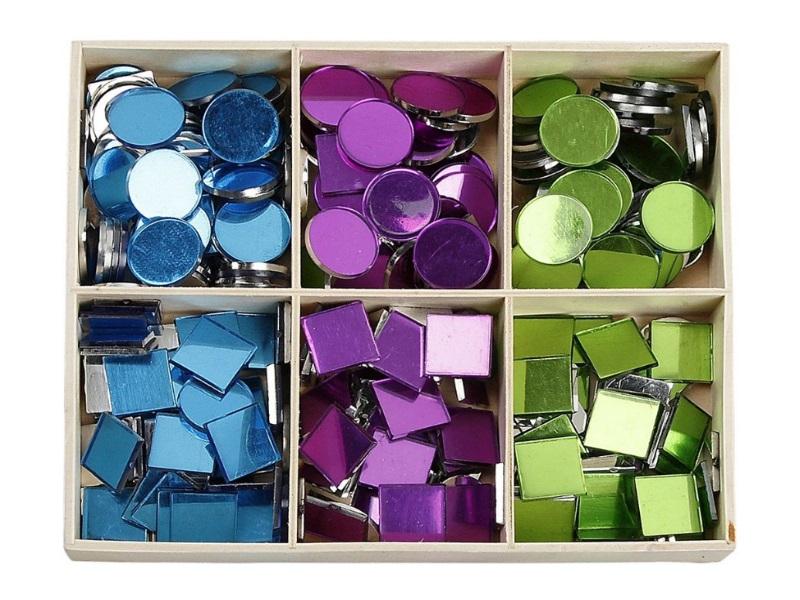 Mosaik Spiegelmosaik Mosaiksteine 3fach sortiert 300Teile - Größe 15 mm - Stärke