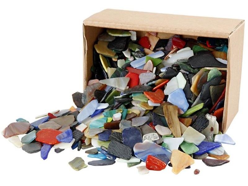 Mosaik Mosaiksteine aus Glas verschiedene Farben 2Kg - Größe 15-60 mm - Stärke 5