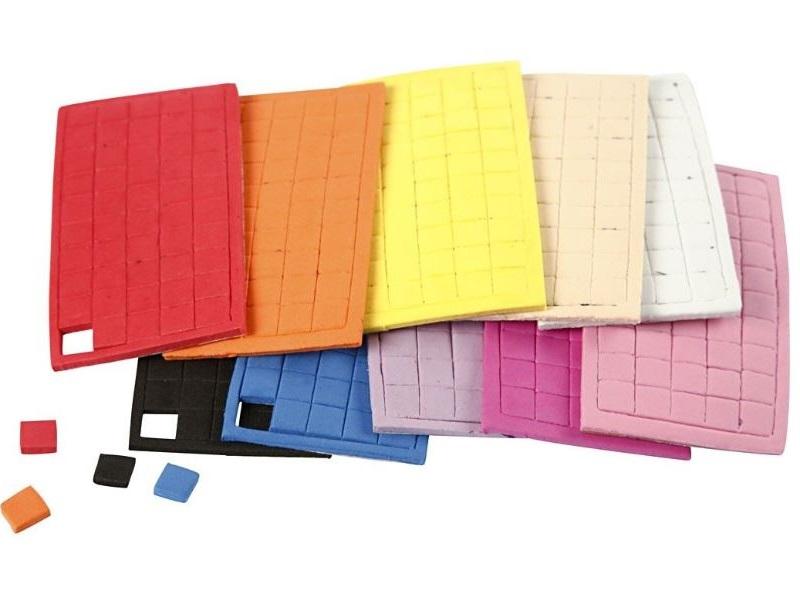 8 Bögen Moosgummi Mosaiksteine Größe 8x8 mm Stärke 3 mm ver. Farben
