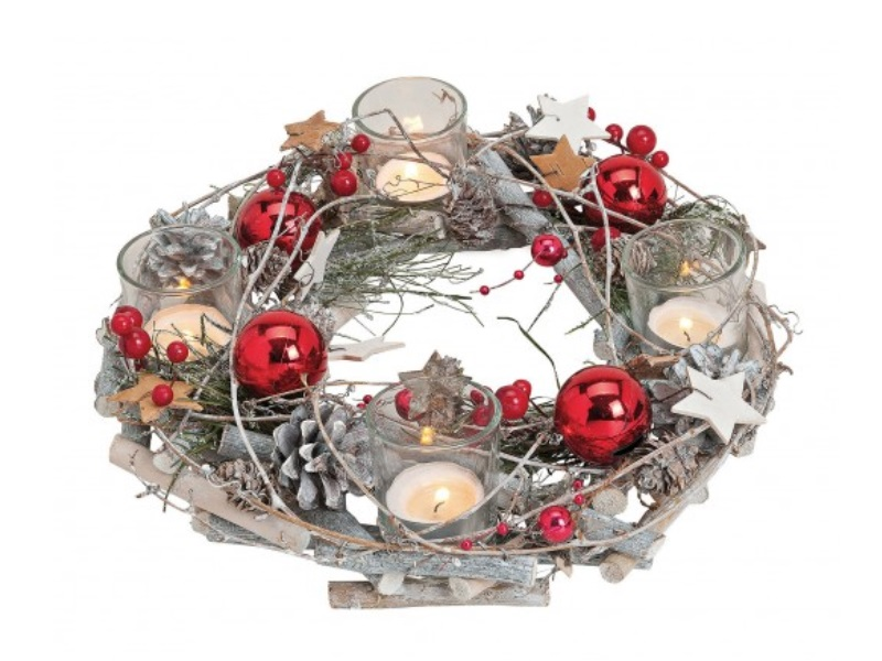 Adventskranz dekoriert aus Holz/Kunststoff Kugeln aus Glas Ø29xh8cm
