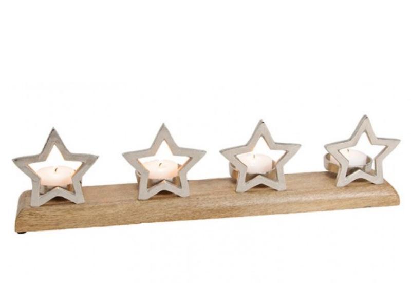 Adventsgesteck mit Sternen aus Metall/Mangoholz B60xT10xH14cm