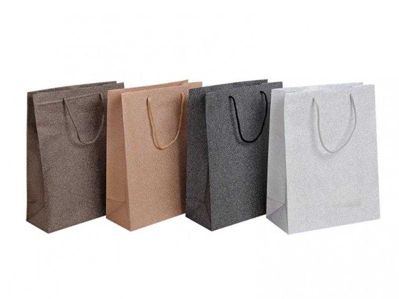 4 Geschenktüten Set im edlen Glitzer Design 4fach sortiert Kunststoff B25xT11xH3