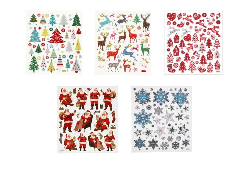 5 Blätter Sticker mit Winterlichen und Weihnachtlichen Motiven ca. 230 Sticker