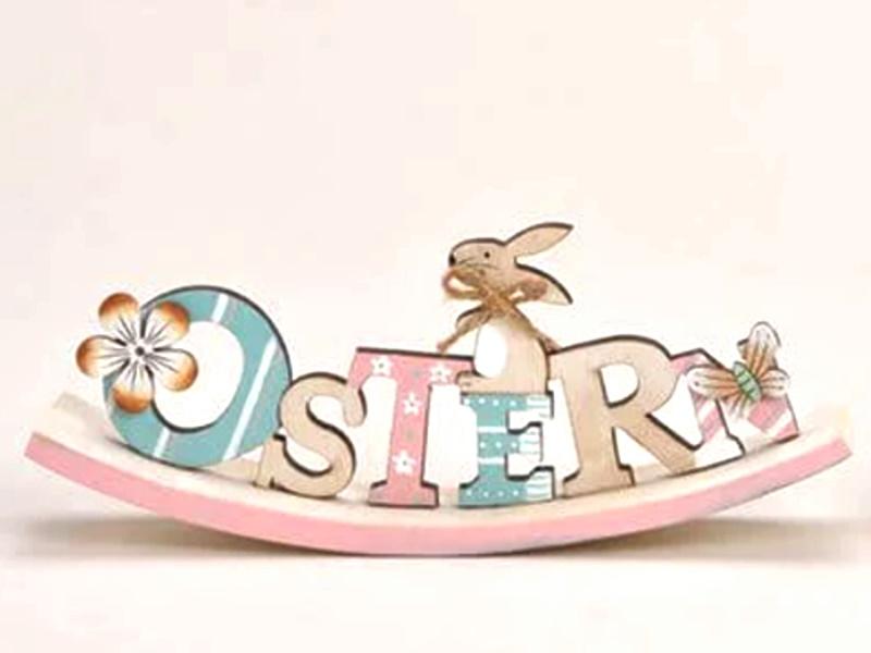 """Osterwippe Schriftzug """"OSTERN"""" mit süßen Details (Rosa) B23cm x H9cm x T4cm"""