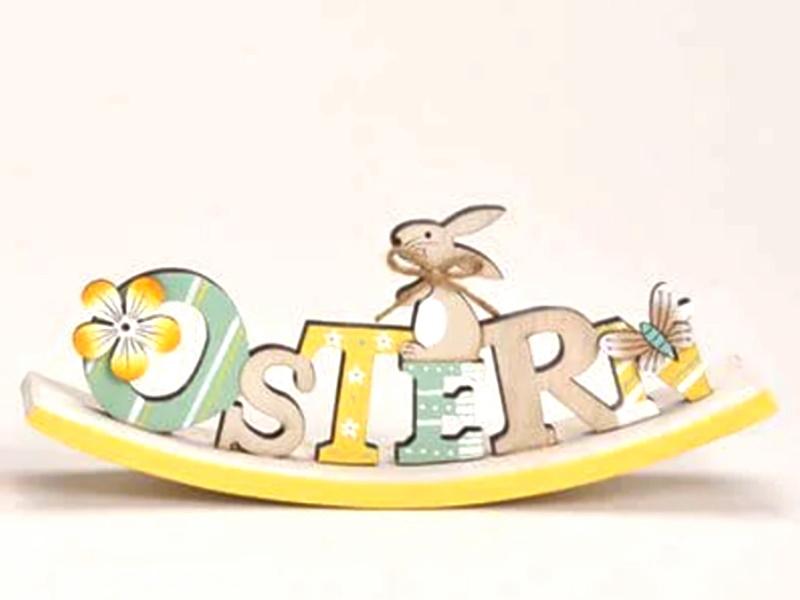 """Osterwippe Schriftzug """"OSTERN"""" mit süßen Details (Gelb) B23cm x H9cm x T4cm"""