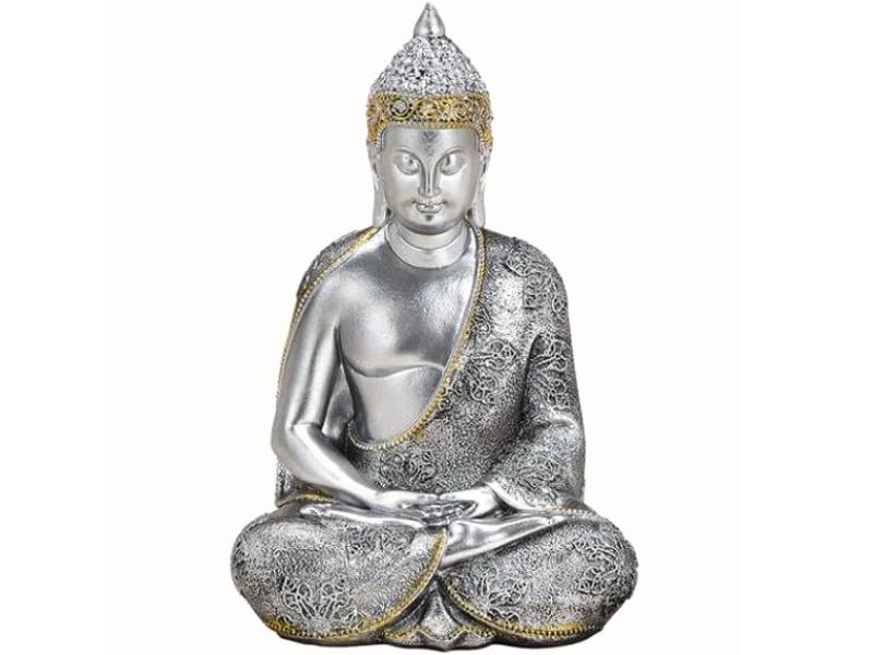 Buddha Figur mit schönen Details aus Poly (Silber-Gold) B13 x H21cm x T11cm