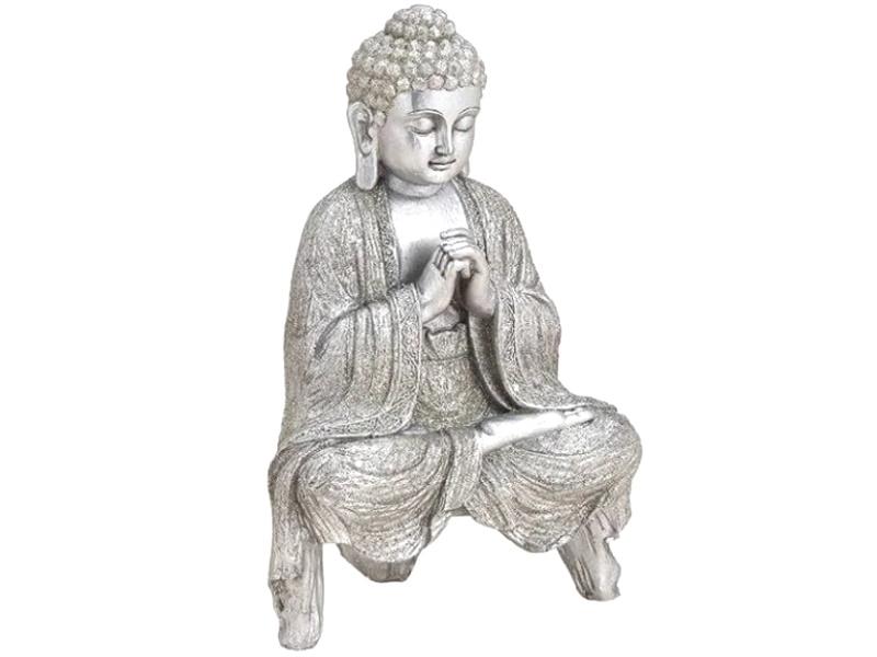 "Buddha Figur ""schwebend"" aus Poly (Silber.) B18cm x H27cm x T12cm"